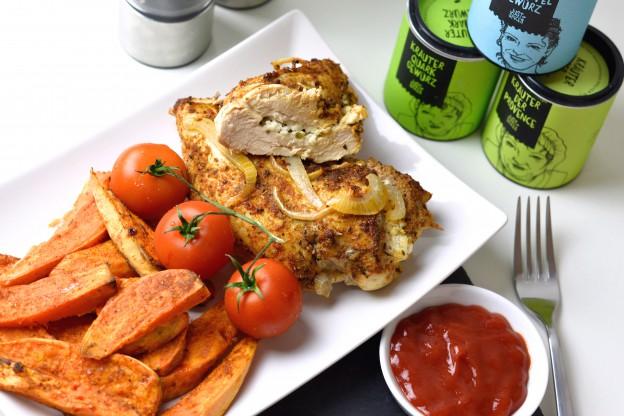 gefüllte Hühnerbrust mit Süßkartoffel Wedges